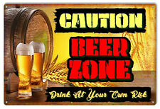 Vintage Antique Style Metal Sign Caution Beer Zone 12x18