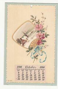October 1896 Calendar Fan Pretty Flowers Blue Ribbon No Advertising Vict Card