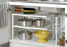 UNDER SINK STORAGE RACK ADJUSTABLE ORGANISER UNIT EXTENDABLE SPACE KITCHEN TIDY