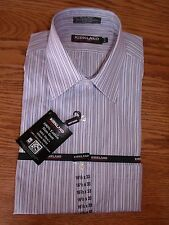 NWT MENS KIRKLAND SIGNATURE STRIPED DRESS SHIRT NO IRON PINK BLUE LONG SLEEVE