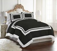 "4-Piece Black White Hotel Style ""REMOVABLE COVER"" Down Alternative Comforter Set"