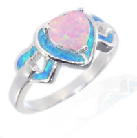 Three Heart Pink Fire Opal Inlay Blue Fire Opal Genuine Sterling Silver Ring
