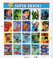 DC Comics Super Heroes Full Sheet of Twenty 39¢ Stamps Scott 4084 - Stuart Katz