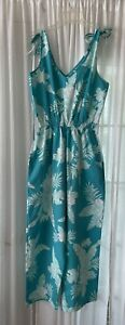 """Vntage 80s """"Made in Hawaii"""" Turquoise Floral Jumpsuit Romper Size Med/L Wide Leg"""