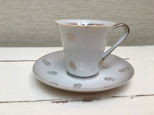 Vintage Silver & White Tea / Coffee Cup And Saucer