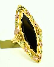 GENUINE 4.21 Cts BLACK ONYX LG FLORAL RING 10K  TRI-COLOR GOLD * New with Tag