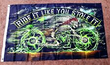 Ride It Like You Stole It Indian Chief on Bike 3'x5' Flag Wall Hanging Man Cave