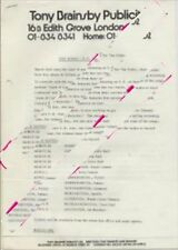 Kinks The Tour Itinerary Press Release March 1984