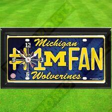 NCAA Michigan Wolverines License Plate Clock