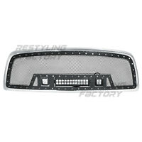 Black SS Mesh Grille+Chrome Shell+3x LED Light for 09-12 Dodge RAM 1500