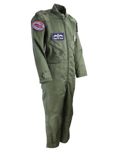 Kids Flying Suit Olive Green RAF Flight Suit 3-13 Years