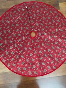 Cristmas Tree Skirt Red Green Textured 120cm Round Xmas