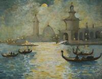 Tableau Peinture Ancienne Huile Original - Paysage Venise, Italie, Saint-Marc