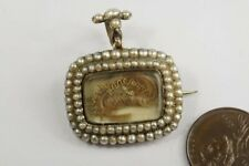 Locket Mourning Brooch / Pendant c1820 Antique Georgian 9K Gold Pearl Hair