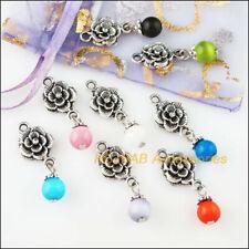 8Pcs Tibetan Silver Tone Mixed Cat Eye Stone Rose Flower Charms Pendants