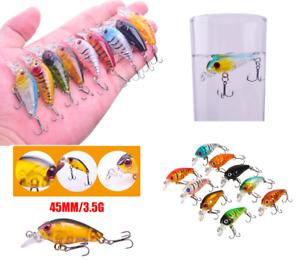 9 x Small Mini Tiny Fishing Lures Bass CrankBait Crank Bait  floating surface