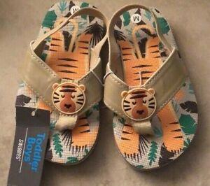 Swiggles Toddler Boys Tiger Flip Flop Sandal Sizes 5/6, 7/8,9/10
