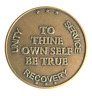 To Thine Own Self Be True Antique Bronze Alcoholics Anonymous AA coin recovery