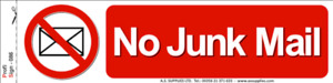 No Junk Mail Sticker Sign Mail Letterbox Vinyl Decal Front Door Notice New