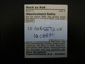 ONE COMPLETE SETOF TEN SUB SETS CIGARETTE CARDS HAUS BERGMANN FILM STARS ?