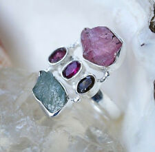 Silberring 53 Turmalin Grün Rosa ROH Silber Ring Braun Rot Lila Elegant Schlicht