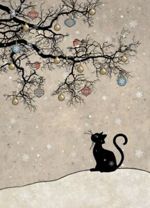 Bug Art Christmas card embossed foil/jewel effect - 'Cat and Robins' SINGLE
