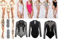 New Ladies Womens Mesh Insert Halter Neck Backless Leotard Bodysuit Tops UK 8-14