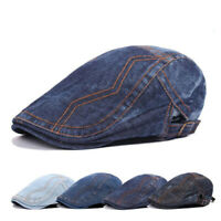 Solid Cotton Cap Mens Denim Hat Golf Driving Summer Sun Cabbie FE