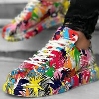 Apollo Mens Colorful Painted Sneakers Alexander Mcqueen Style Custom Sneakers