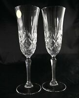 Pair of French Vintage Lead Crystal Champagne Flutes Prosecco Glasses - 8 avail