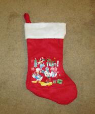 "Disney Christmas Stocking Mickey, Goofy & Donald 16"" Red & White"