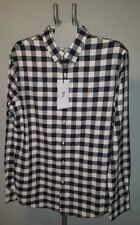 FARAH Men's White and Navy Check Button Down Casual Shirt Long Sleeve Size L NWT