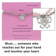 "Equilibrium Double Message Platinum Plated Bracelet "" Mum "" with Butterfly Charm"