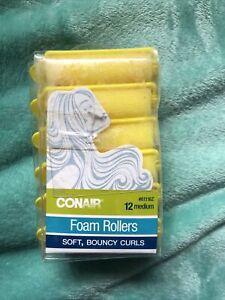 NEW 12 Pcs Conair Medium Yellow Foam Rollers Soft Bouncy Curls 61116Z