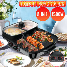 New listing 220V 1500W 2 in 1 Electric Smokeless Nonstick Barbecue Pan Roasted Shabu Hot Pot