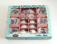 Vintage Jaymar Toy China Tea Set White Blue Oriental Flower Tree House Scene