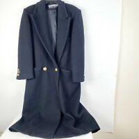LINDA ALLARD ELLEN TRACY Size 10 Black 100% WOOL Long 2 Button Heavy Jacket Coat