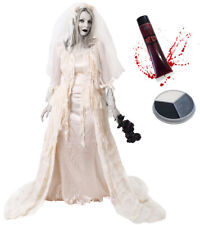 Deluxe Zombie Novia Disfraz Halloween Vestido De Pintura De La Cara Sangre Falsa