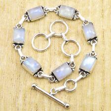 "925 Silver Plated Rectangle Rainbow Moonstone Bracelet 7.8"" ! Birthday Gift NEW"