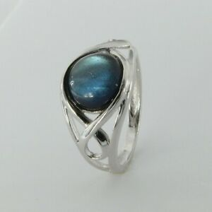 Size 9 Natural and Genuine Celtic Round LABRADORITE Ring 925 STERLING SILVER #18