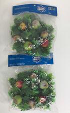 "Shiny Brite Poloron Christmas Wreath Candle Ring Lot Of 2 Fruit Decor Vtg 9"""