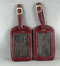 "LEATHER LUGGAGE TAGS ""2 x BROWN"" WITH WINDOW FOR NAME/ADDRESS/TEL (BRAND NEW)"
