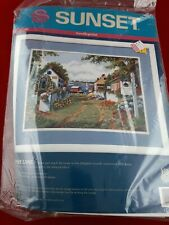 New Vtg Sunset Needlepoint Kit #12087 Bayside Lane Seaside Village Sailboat Inn