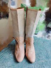 SHELLYS Designer  Partial leather-Nude Below Knee High Heel Boots SizeUK 7 EU 40