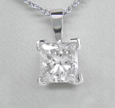 0.40ct Diamond Solitaire Platinum Pendant Certified D IF VG Princess Cut & Chain