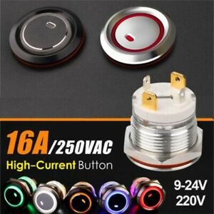 19mm High Current16Amp metal push button switch waterproof latching or momentary