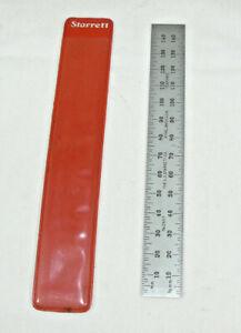 Vintage Starrett C637-150 150 mm Metric Spring-Tempered Steel Ruler & Sleeve USA