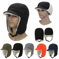 Men Winter Trapper Hunting Hat with Visor Windproof Warm Russian Earflap Caps