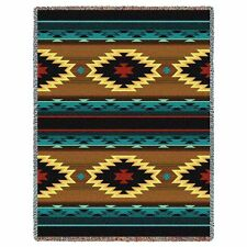 Pure Country Weavers Southwest Geometric Turquoise Tapestry Throw Blanket