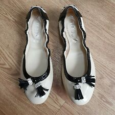 £390 TODS Nude Patent Leather Ballet Flats Ballerinas Shoes Size 3 Black Tassel